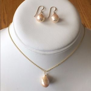 NATURAL Golden Pink Pearl Earrings & Necklace
